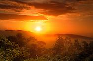Sunset, Blue Mountains seen from Mockingbird Hill Hotel, Port Antonio, North Coast, Jamaica, Caribbean