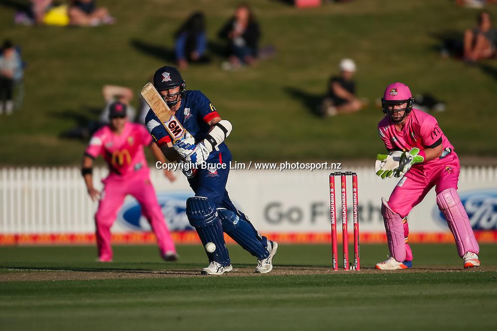 Auckland Aces' Rob Nicol batting during the McDonalds Super Smash T20 cricket match - Knights v Aces played at Seddon Park, Hamilton, New Zealand on Saturday 17 December.<br /> <br /> Copyright photo: Bruce Lim / www.photosport.nz