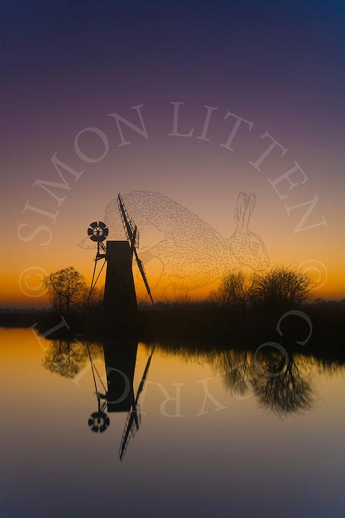 Turf Fen Windpump on River Ant, Ludham, Norfolk at dusk. Norfolk Broads N.P. Windmill