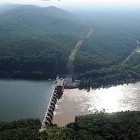 High Rock  dam on the Yadkin River, Hydro Power generating (Progress Energy). and High Rock Mountain