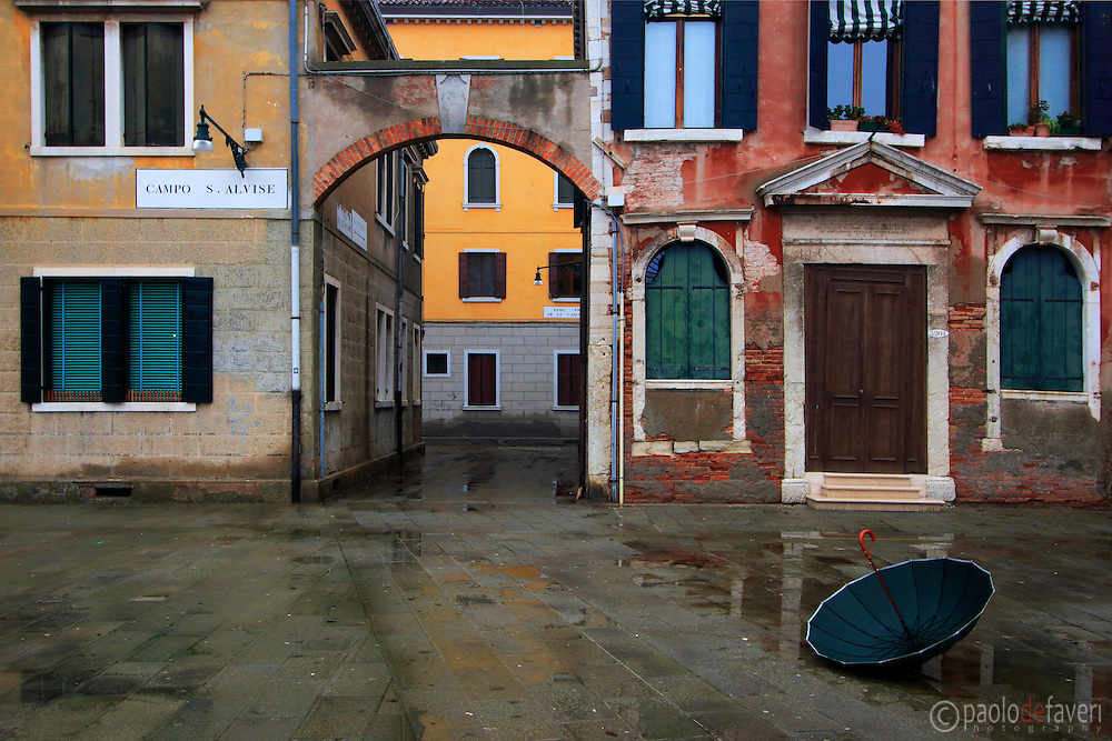 A rainy day at Campo Sant'Alvise, a beautiful little square in the Sestiere of Cannaregio in Venice, Italy