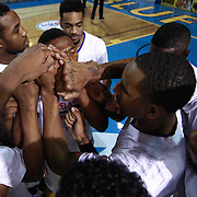 Delaware 87ers players huddle together prior a NBA D-league regular season basketball game between the Delaware 87ers (76ers) and the Sioux Falls Skyforce (Miami Heat) Tuesday, Dec. 2, 2014 at The Bob Carpenter Sports Convocation Center in Newark, DEL