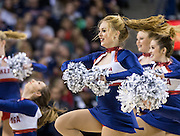Gonzaga's Dance Team performs in a timeout of the men's basketball game against Memphis. (Gonzaga photo/Ryan Sullivan)