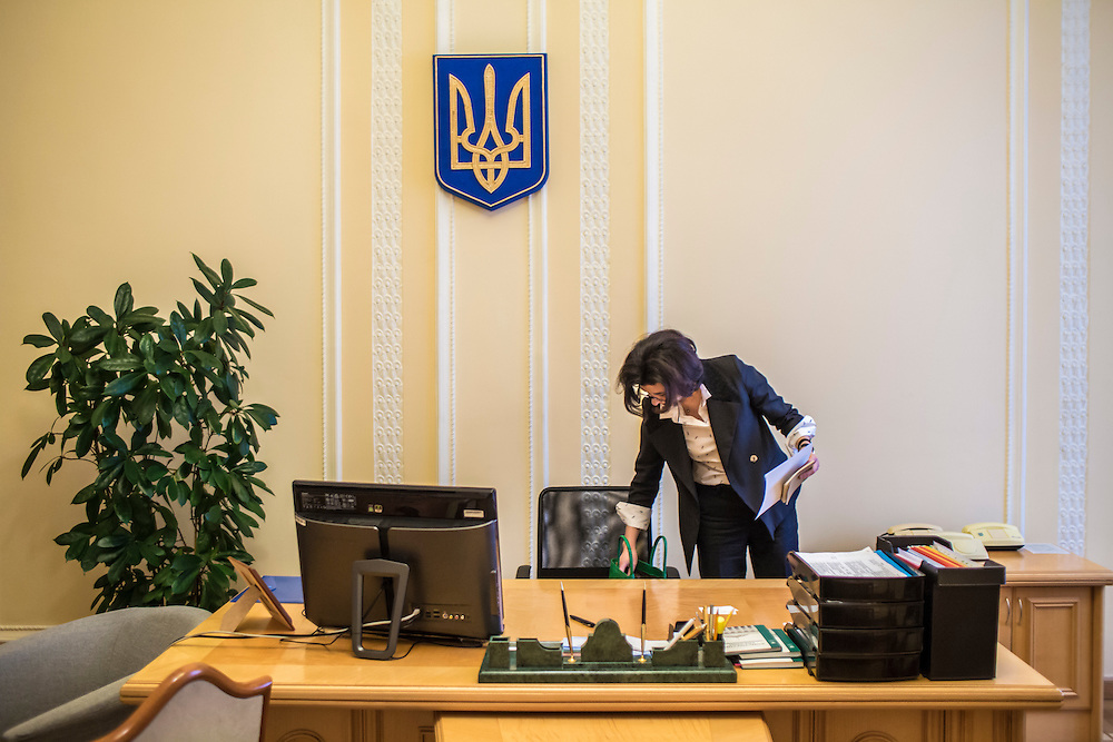 KIEV, UKRAINE - MARCH 4, 2016: Oksana Syroyid, deputy speaker of the Ukrainian parliament, works in her office in Kiev, Ukraine. Syroyid is one of parliament's main opponents of the constitutional reforms called for in the Minsk agreement intended to resolve fighting in eastern Ukraine. CREDIT: Brendan Hoffman for The New York Times