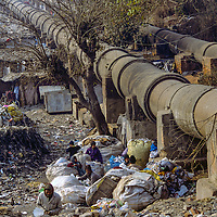 Scavengers who tap them for their own needs often compromise giant pipes like these that carry water to Indian cities.