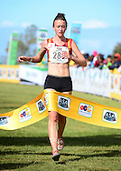 GEORGE, SOUTH AFRICA - SEPTEMBER 10: Nicole van der Merwe of Central Gauteng Athletics (CGA) wins the junior women 8km during the 2016 South African Cross Country Championships held at The Olympia School of Skills in Pacaltsdorp on September 10, 2016 in George, South Africa. (Photo by Roger Sedres/Gallo Images)