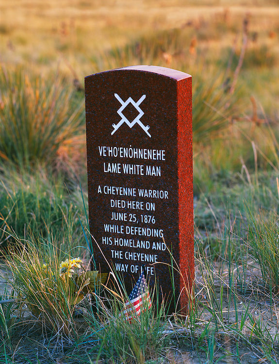 1100-1006 ~ Copyright: George H. H. Huey ~ Memorial marker  for the Cheyenne warrior, Lame White Man, near Last Stand Hill where the U.S.  7th Cavalry was defeated June 25, 1876 by Lakota, Cheyenne and Arapaho Indians.  Little Bighorm Battlefield National Monument, Montana.
