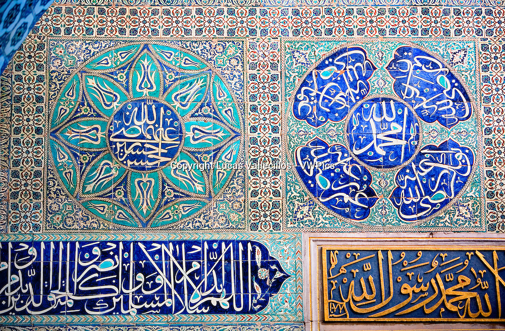 Topkapi Palace, Harem,Courtyard of  Eunuchs.Detail of tiles . Istanbul. Turkey