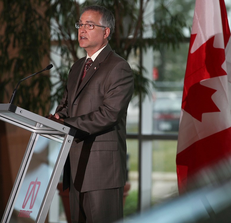 Garry Goodyear, Minister of State (Science and Technology) speaks at a press conference in Cambridge Ontario, Tuesday, July 5, 2011, announcing provincial and federal funding for improvements Toyota's manufacturing plants in Ontario.<br /> THE CANADIAN PRESS/ Geoff Robins