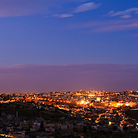 Night view from the South of Jerusalem's old and new cities. WATERMARKS WILL NOT APPEAR ON PRINTS OR LICENSED IMAGES.