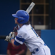 Delaware Infielder James Meeker (19) bats during a regular season baseball game between Delaware and Saint Joseph's at Bob Hannah Stadium Tuesday April 19, 2016, in Newark.