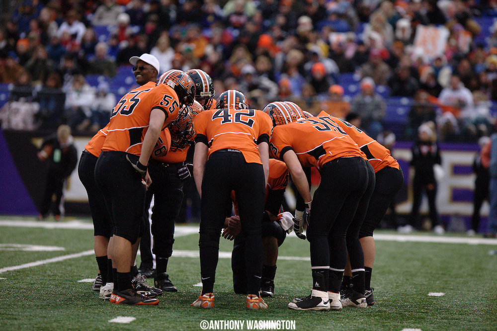 The Middletown High School football team huddles up during the class 2A MPSSAA 2010 State Football Championship game at M&T Bank Stadium in Baltimore, MD on Saturday, December 4, 2010.