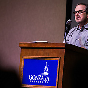 Gonzaga hosts the first public reading of Tod Marshall as State Poet Laureate on Thursday, Feb. 4, 2016. (Photo by Ryan Sullivan)