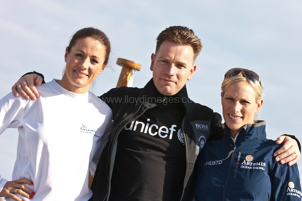 10th August 2011. Cowes. Isle of Wight..Pictures showing Ewan Mcgregor, Zara Phillips and Natalie Pickham before the race. ..The Artemis Challenge round the Island race during Aberdeen Asset Management Cowes Week 2011...Credit: Lloyd Images.