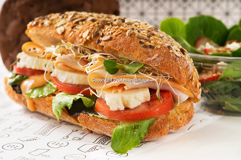 """Delicious gourmet turkey sub on a multi-grain hoagie with fresh white cheese, tomato, lettuce, soy sprouts and """"Chipotle dressing""""."""