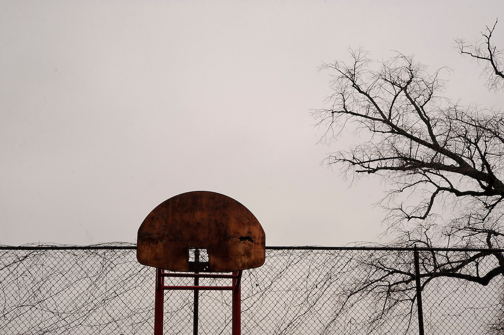 Photo copyright 2009, Matt Roth<br /> Wednesday, February 29, 2012<br /> <br /> Students are not allowed inside the City Springs School basketball court. Principal Rhonda Richetta says she finds broken glass, used drug paraphernalia, and homeless people sleeping on the benches. Richetta is currently trying to raise funds to create a sports complex.