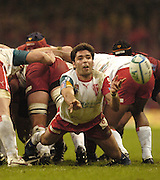 Cardiff, WALES.  Biarritz's,  Dimitri Yachvili, passes the ball out from the back of the scrum during the  2006 Heineken Cup Final,  Millennium Stadium,  between Biarritz Olympique and Munster,  20.05.2006. © Peter Spurrier/Intersport-images.com,  / Mobile +44 [0] 7973 819 551 / email images@intersport-images.com.   [Mandatory Credit, Peter Spurier/ Intersport Images].14.05.2006   [Mandatory Credit, Peter Spurier/ Intersport Images].