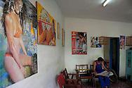 Barbershop in Guines, Mayabeque, Cuba.