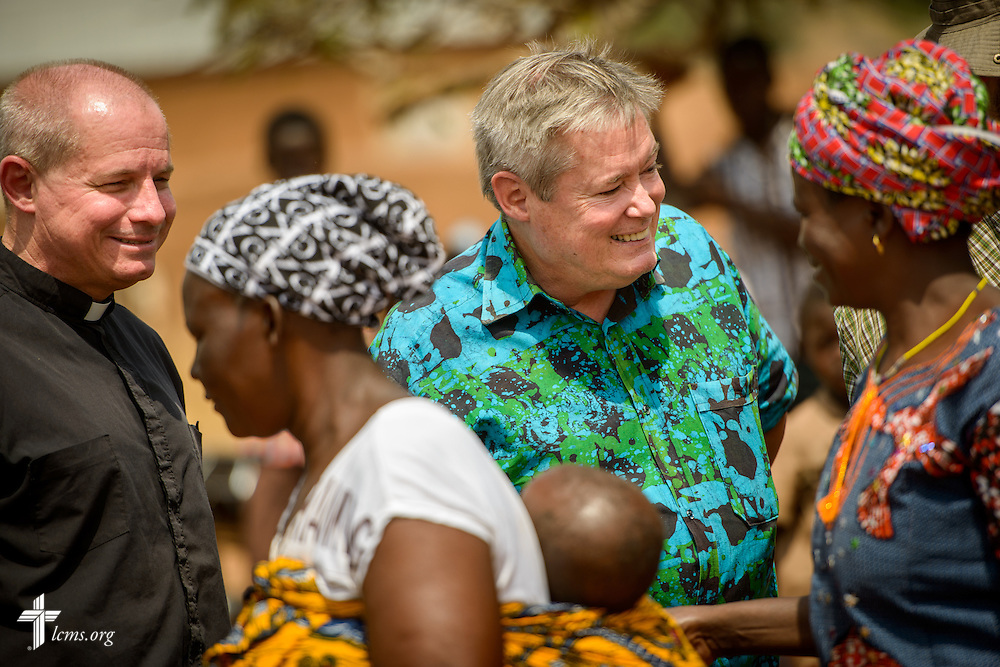 The Rev. Gary Schulte, area director for West and Central Africa, and the Rev. Fred Reinhardt, area facilitator for Francophone Africa-West and Central, greet worshippers following service at the Lutheran Church of Togo in Mire on Sunday, Feb. 12, 2017, in Mire, Togo. LCMS Communications/Erik M. Lunsford