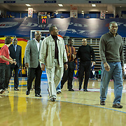 Members of the undefeated 1973 Howard Wildcats basketball team leave the floor after being recognized for their accomplishments during half time of a NBA D-league regular season basketball game between the Delaware 87ers (76ers) and the Springfield Armor (Nets) Saturday, Dec. 28, 2013 at The Bob Carpenter Sports Convocation Center, Newark, DE.<br />