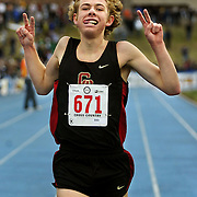 Central Catholic's Galen Rupp (671) crosses the finish line first with attitude during the 4A boy's race. Rupp has won for the second year in a row at the OSAA Cross Country State Championships which were held at Lane Community College in Eugene......KEYWORDS: runners, high school