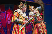 Lovingly ripped off from the classic film comedy Monty Python and the Holy Grail, Spamalot is making a triumphant return to the London West End, at the Harold Pinter Theatre. Featuring Jon Culshaw as King Arthur, Marcus Brigstock as Sir Lancelot, Bonnie Langford as The Lady of the Lake and Todd Carty as Patsy. Picture shows Jon Culshaw and Marcus Brigstocke.