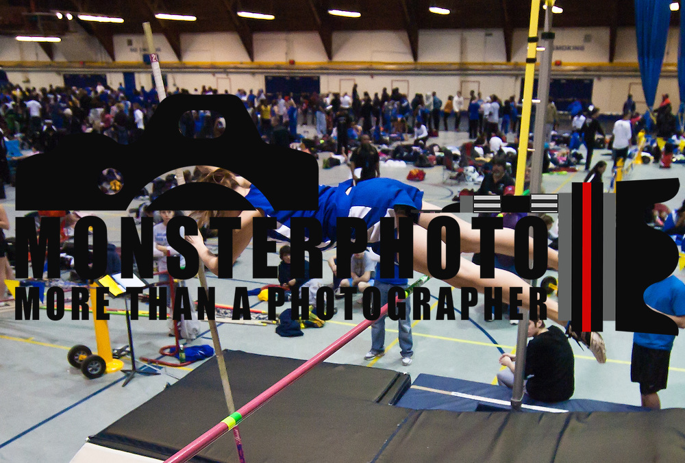021211 Newark DE: Charter Senior Carrie Weidman clears the bar during the Girls Pole Vault event at the state indoor track and field championships at The University of Delaware Field House in Newark Delaware Saturday afternoon.<br /> <br /> Special to The News Journal/SAQUAN STIMPSON