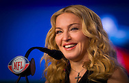 Madonna appears at the Super Bowl XLVI Bridgestone Halftime Special press conference at the Motorola Super Bowl Media Center in Indianapolis, Indiana.Photos by Michael Hickey.NO SALES