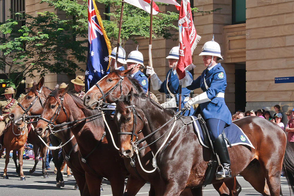 Queensland Police mounted horse unit in Brisbane ANZAC day 2005 parade