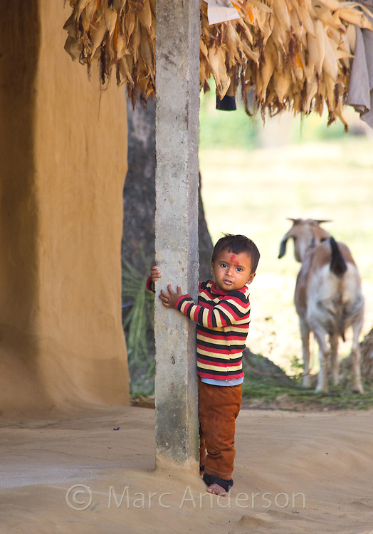 Young boy in a Tharu village in the terai region of Nepal