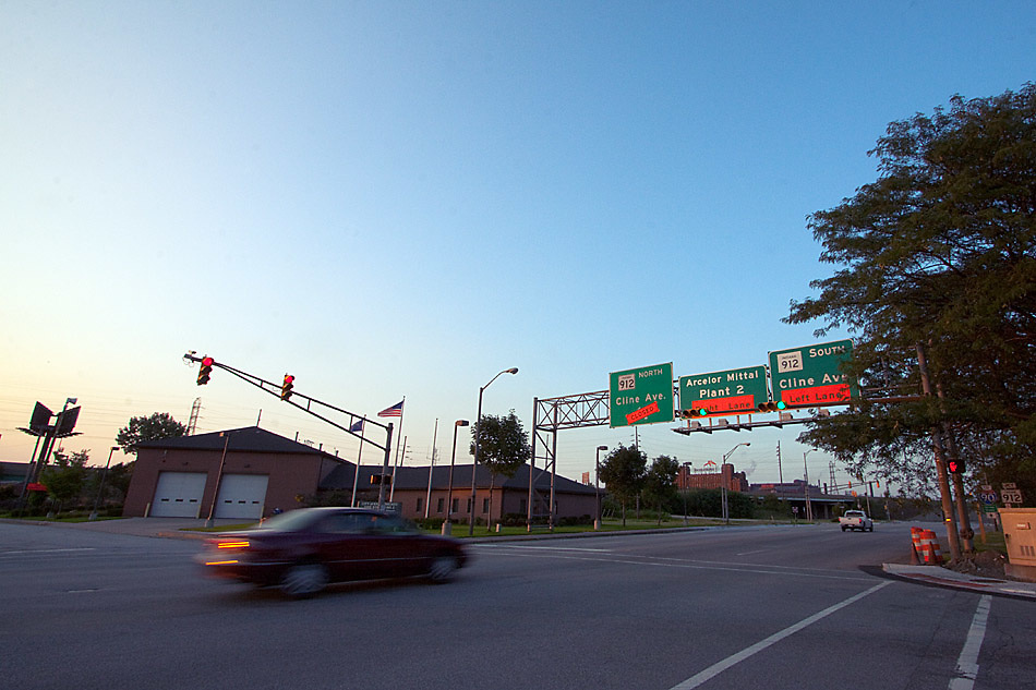 The signs over Michigan Avenue in East Chicago remind everyone that their nearby elevated road has been abandoned due to structural problems.