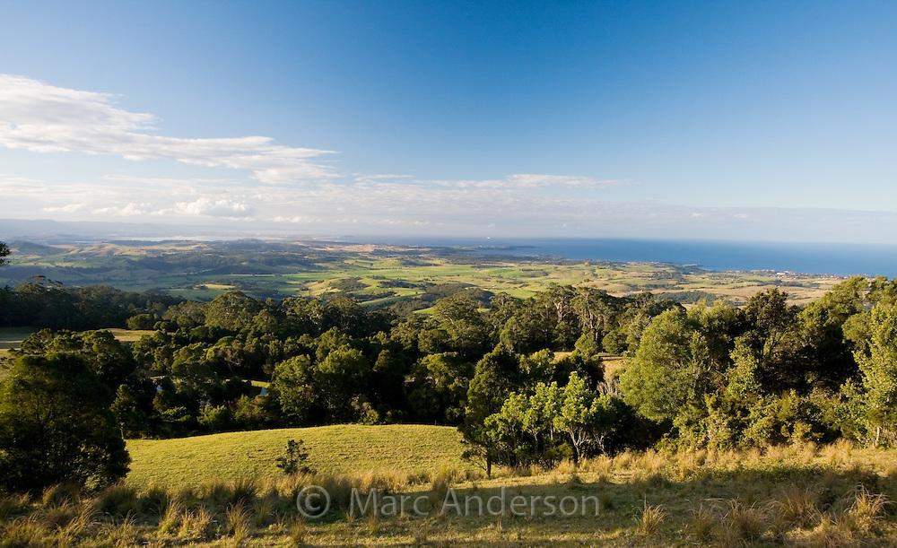 View over green countryside and coastline near Kiama, NSW, Australia