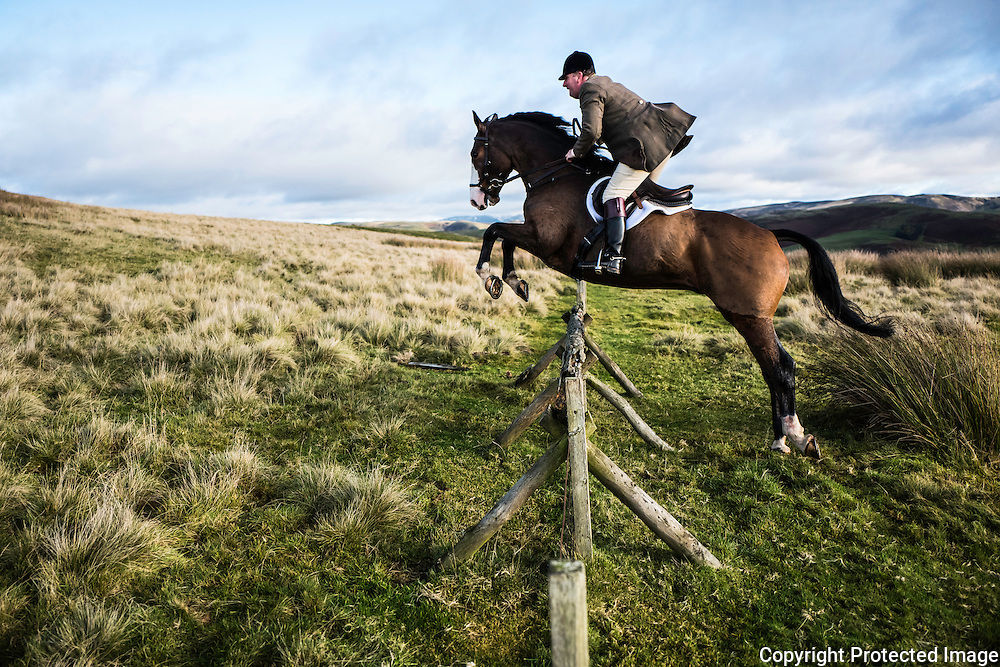 Jedburgh, Scottish Borders, UK. 12th November 2016. Robert Claydon sails over a hunt jump in the Border hills while hunting with the Jedforest Foxhounds.