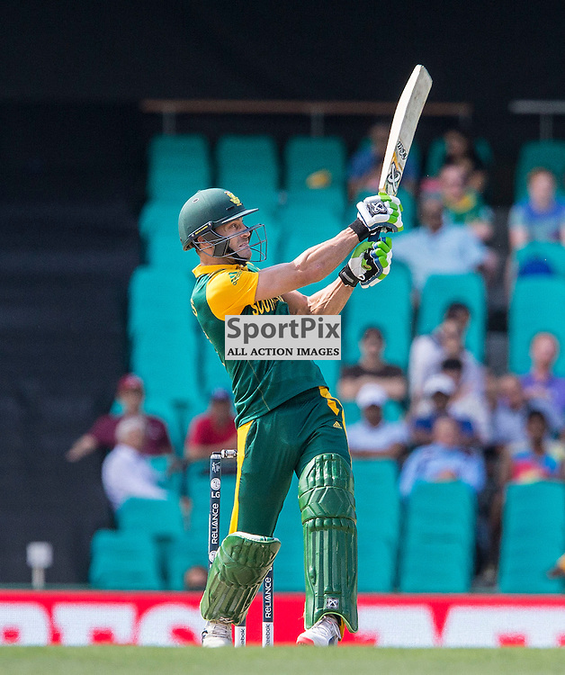 ICC Cricket World Cup 2015 Tournament Match, South Africa v West Indies, Sydney Cricket Ground; 27th February 2015<br /> South Africa&rsquo;s Francois Du Plessis plays a shot to the boundary
