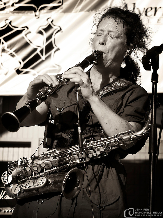 Amy Denio on horns for Kultur Shock live at Global Union in Milwaukee, Wi. Photo © Jennifer Rondinelli Reilly. All rights reserved.