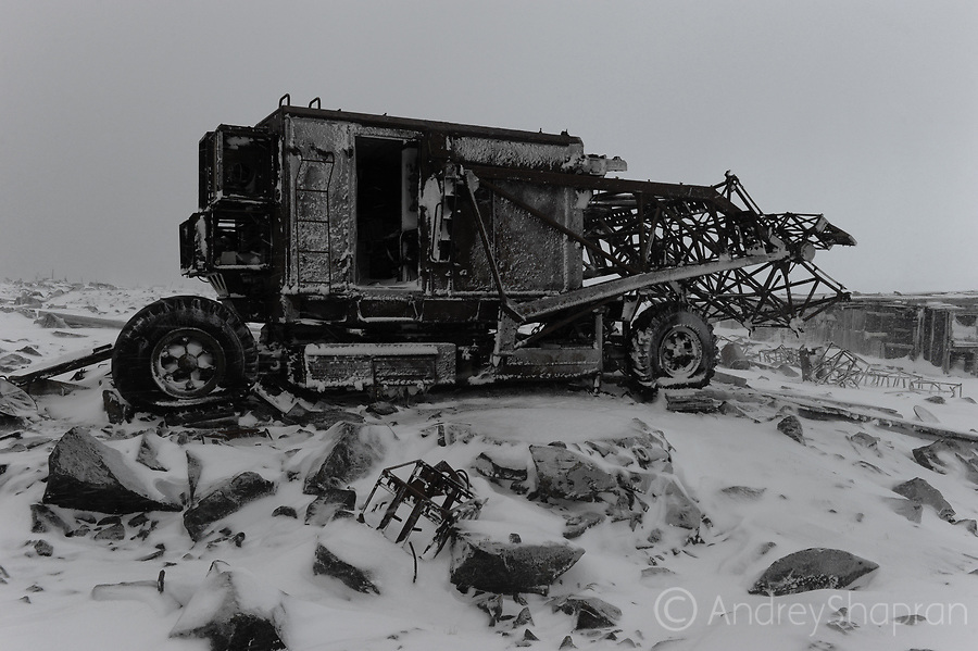 A heavy snowstorm comes on the Arctic coast of Chukotka in the Schmidt Cape settlement, Russia