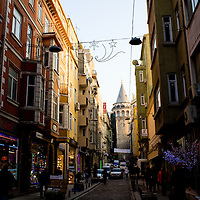 Street scene awith Galata Tower , Galata, Istanbul, Turkey
