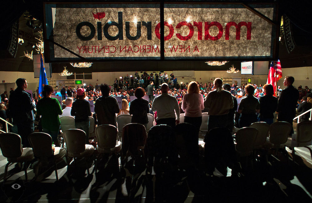 Supporters stand and listen to Republican presidential candidate Marco Rubio during a rally in Las Vegas at the Silverton Casino ahead of the Nevada caucuses in the evening on Tuesday, February 23, 2016.   L.E. Baskow