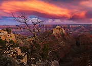 A brilliant sunset from the North Rim of Grand Canyon National Park.