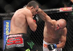 August 27, 2011; Rio De Janiero, Brazil; Stanislav Nedkov (white trunks) and Luiz Cane (black trunks) during their bout at UFC 134 in Rio De Janiero.