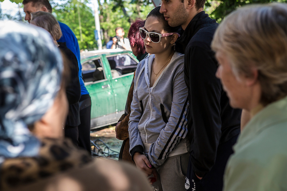 MARIUPOL, UKRAINE - MAY 10: People visit a burned police station where deadly clashes took place a day earlier on May 10, 2014 in Mariupol, Ukraine. A referendum on greater autonomy is planned for the region tomorrow. (Photo by Brendan Hoffman/Getty Images) *** Local Caption ***