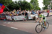 Tourfavoriet Alberto Contador van deTinkoff Saxo Bank ploeg passeert de wielerliefhebbers. In Utrecht vindt met de presentatie van de renners het eerste offici&euml;le deel plaats van de Grand Depart. Op 4 juli start de Tour de France in Utrecht met een tijdrit. De dag daarna vertrekken de wielrenners vanuit de Domstad richting Zeeland. Het is voor het eerst dat de Tour in Utrecht start.<br /> <br /> Tour favorite Alberto Contador of the Tinkoff Saxo Bank team passes the fans. In Utrecht the riders present themselves as the first official moment of the Grand Depart . On July 4 the Tour de France starts in Utrecht with a time trial. The next day the riders depart from the cathedral city direction Zealand. It is the first time that the Tour starts in Utrecht.