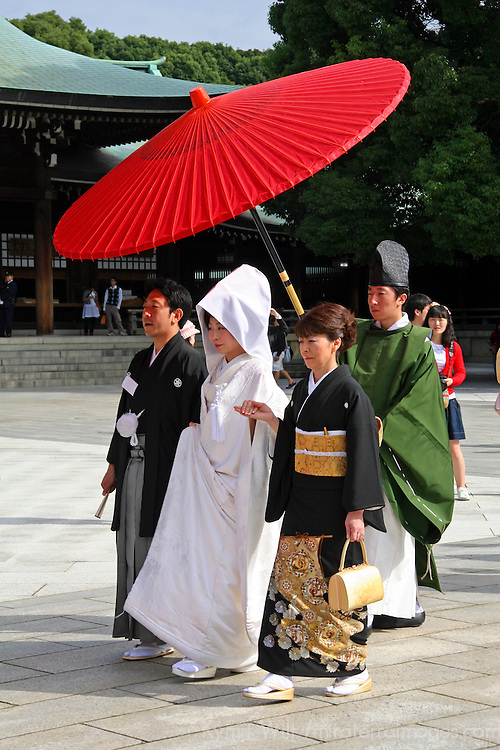 Asia, Japan, Tokyo. Bridal Party in traditional Japanese wedding procession.
