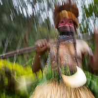 Female SingSing dancer, motion blur, Enga Province, Papua New Guinea