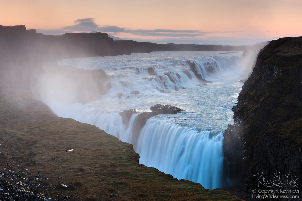 """The Hvítá River drops 105 feet (32 meters) in two tiers into a narrow canyon at Gullfoss, one of Iceland's most popular waterfalls. Gullfoss means """"golden falls."""""""