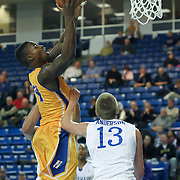 Hofstra Forward Stephen Nwaukoni (24) drives to the basket for a lay up in the second half of a NCAA regular season Colonial Athletic Association conference game between Delaware and Hofstra Wednesday, JAN 8, 2014 at The Bob Carpenter Sports Convocation Center in Newark Delaware.