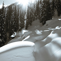 Mark Landvik makes his way through a beautiful winter landscape in the Kootenay Mountains of British Columbia, Canada.