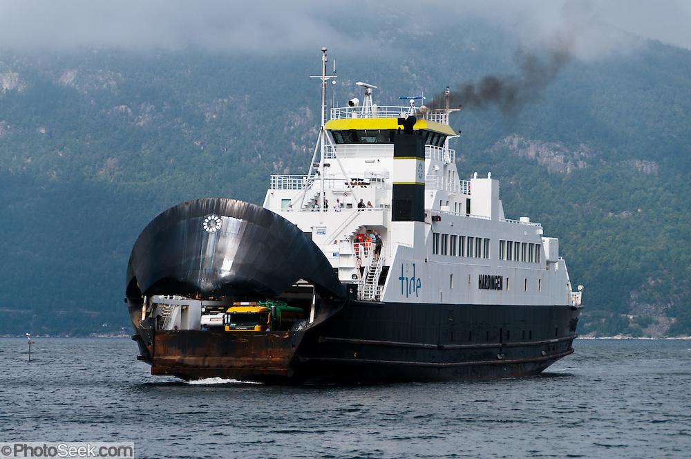 "Take the TIDE car ferry ""Hardingen"" from Kvanndal to Utne to visit the Hardanger Folk Museum, in Utne, Norway."