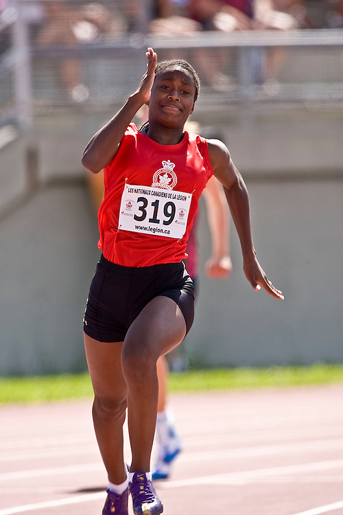 (Sherbrooke, Quebec---10 August 2008) Nichelle Prince competing in the  at the 2008 Canadian National Youth and Royal Canadian Legion Track and Field Championships in Sherbrooke, Quebec. The photograph is copyright Sean Burges/Mundo Sport Images, 2008. More information can be found at www.msievents.com.