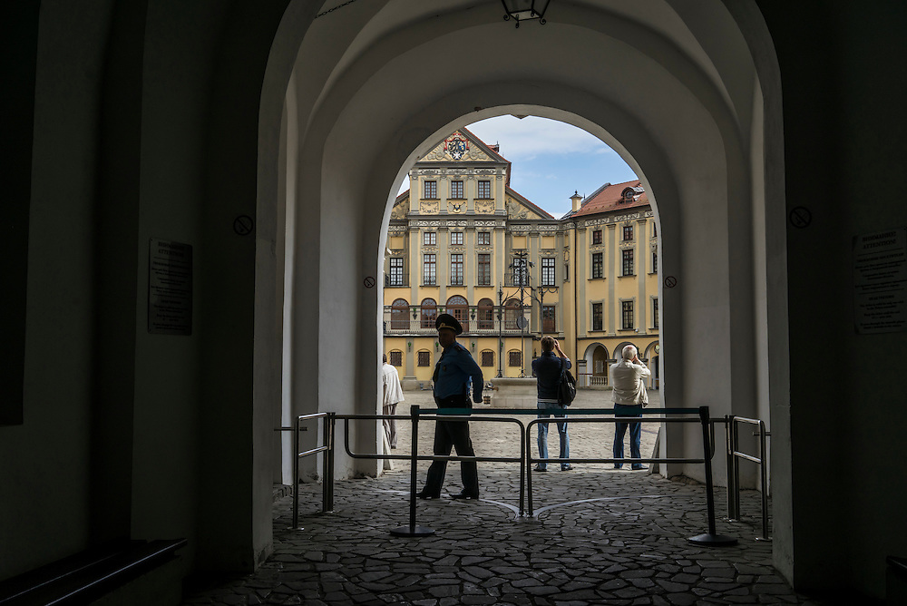 The entrance to Nesvizh Castle on Friday, September 16, 2016 in Nesvizh, Belarus.
